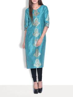 Buy Kurti's By Menka Multicoloured Chanderi Silk Printed Kurti Online, , LimeRoad