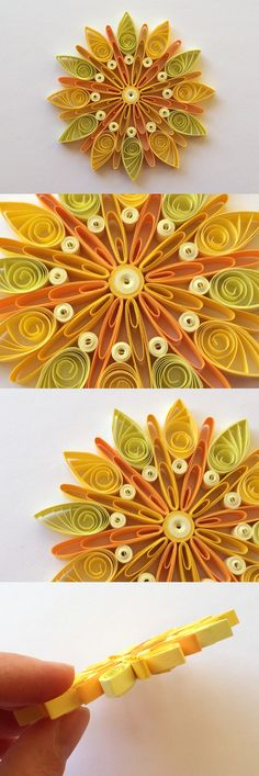 Snowflakes Yellow Orange Christmas Tree Decoration Winter Ornaments Gifts Toppers Fillers Office Corporate Paper Quilling Quilled Art