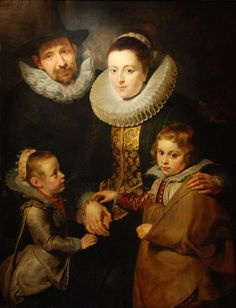 Family of Jan Breughel the Elder, c. 1612-13, by Peter Paul Rubens, depicts Brueghel, his wife Catharina van Mariënburg and their eldest surviving children: Elisabeth (b. 1609) and Pieter (b. 1608).