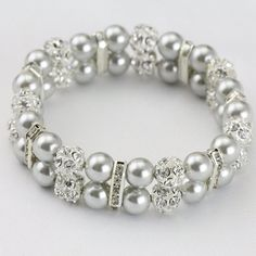 Grey pearl row pearl braceletsilver gray by PearlOnly jewelry bracelet Grey pearl row pearl bracelet,silver gray pearl wedding jewelry,bridesmaid bracelet,double strand bracelet,elastic pearl bracelet Beaded Wedding Jewelry, Pearl Jewelry, Bridal Jewelry, Pearl Rings, Handmade Bracelets, Jewelry Bracelets, Pearl Bracelets, Pearl Necklaces, Geek Jewelry