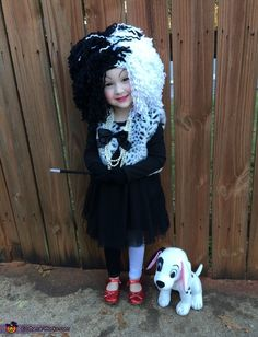 Haley: This is my daughter, Lillian (age 2) wearing her Curella Deville Halloween costume. I got this idea from the Disney classic 101 Dalmatians. It is one of my daughters favorite...