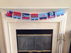 Choo Choo I'm 2, Choo Choo I'm two banner, Train Theme Birthday Party, Train Theme Birthday Banner, Boy's second birthday party ideas by HandmadeByVee on Etsy