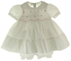 Feltman Brothers Infant Girls White & Pink Portrait dress with Collar and smocked bodice comes with matching bloomers