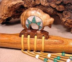 """Canarywood Native American Flute with Curly Oregon Myrtlewood """"Circle of Life"""" Bear Block - Turquoise and Mother of Pearl Inlay"""