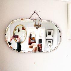 Gorgeous frameless Art Deco mirror size 68.5x40.5 with charming vintage patina