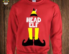 Funny Christmas Hoodie Buddy The Elf Hooded Sweater Sweatshirt Head Elf Elves Vacation Movie Holiday Gift Xmas Merry Santa Holidays