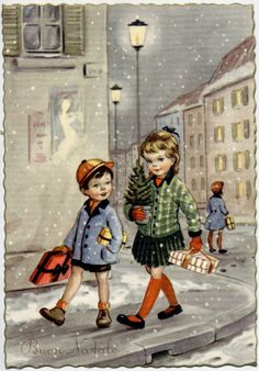 Lovely Xmas Childrens Complete Set of 6 Postcards PC Circa 1940 A | eBay
