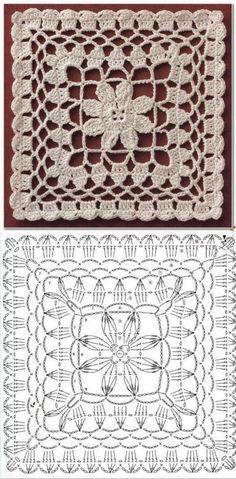 Crochet Motif Patterns, Crochet Blocks, Granny Square Crochet Pattern, Crochet Diagram, Crochet Squares, Filet Crochet, Crochet Designs, Granny Squares, Crochet Art