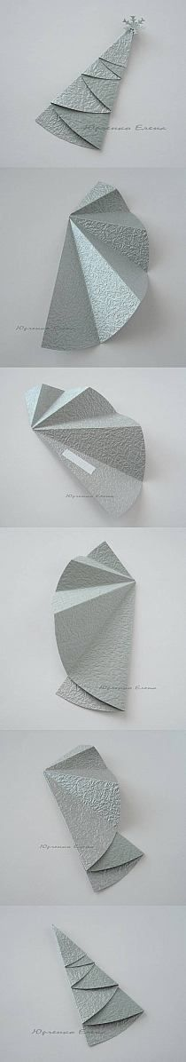 handmade Christmas card embellishment - DIY foldable paper Christmas Tree. half circle folds into a tree! cute!