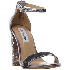Steve Madden Carrson Block Heeled Sandals , Pewter ($100) ❤ liked on Polyvore featuring shoes, sandals, pewter, heeled sandals, low block heel sandals, low heel sandals, high heel sandals and pewter sandals