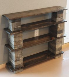 Furniture. Three Tiered Of DIY Concrete Block Bookshelf With Old Reclaimed Wood Racks On Cream Glossy Floor At Soft Grey Wall Theme. Amazing Idea Of DIY Cinder Block Shelves