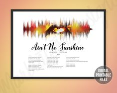 Custom Soundwaves, Designs & Printable Digital Files by MarkintoshDesigns Printable Art, Printables, Ain't No Sunshine, Gifts For My Boyfriend, Sound Waves, You Are The Father, Custom Art, Printing Services, Customized Gifts