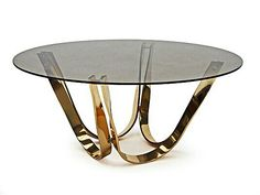 Sprunger Table - Coffee table designed by Roger Sprunger for Dunbar Furniture, USA. Brass plated twisted steel frame with a circular tinted glass top. Deco Furniture, Unique Furniture, Luxury Furniture, Home Furniture, Brass Coffee Table, Coffee Table Design, Modern Coffee Tables, Console Design, Table Decor Living Room