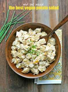 The Best Vegan Potato Salad --- made with a walnut creme using almondmilk, mustard, sweet relish, and chives! // via Nosh and Nourish