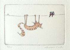 original cat etching and watercolor  hanging on in by atelier28, $25.00