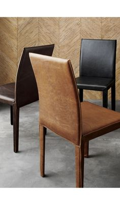 Folio Viola Top-Grain Leather Dining Chair - Crate and Barrel Wooden Dining Room Chairs, Leather Dining Chairs, Modern Dining Chairs, Small Accent Chairs, Accent Chairs For Living Room, Office Chairs Online, Wood Folding Chair, Leather Chaise Lounge Chair, Compact Table And Chairs