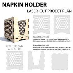 Napkin holder vector file. Template for laser cutting napkin