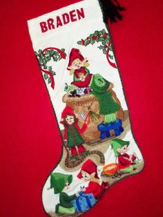 Just $60.00. Santa's Elves was the first design released by Prigrauce Crewel Creations in 2011. It is still our most popular design. As soon as I get them assembled and restocked, they start flying off the shelf.