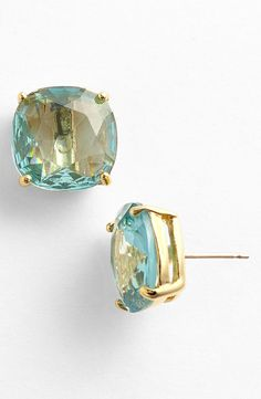 Adore these shiny blue and gold Kate Spade small square stud earrings.