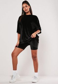 Missguided Black Velvet T Shirt Cycling Short Co Ord Set Shorts Co Ord, Velvet T Shirt, Co Ord Sets, Vintage Grunge, Fall Collections, Hot Pants, Workout Tops, Missguided, Black Velvet
