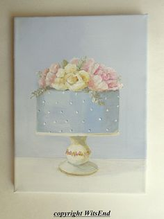 Blue Cake painting original ooak dessert art still life Blue Fondant and Peonies Sweetest Devotion, Garden Party Cakes, Wedding Art, Wedding Cakes, Cake Painting, Eye Drawing Tutorials, Romantic Paintings, Blue Cakes, Pink Poppies