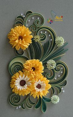 Beautiful Floral Arrangement - quilled by: Quilling Artist - Neli Beneva
