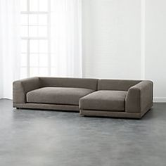 Two super-easy, super-scaled pieces make one roomy hangout. Super-deep with low angled back for lazy lounging and piles of pillows. Clean modern texture in tight poly-cotton weave. Deep Couch, Deep Sectional, 2 Piece Sectional Sofa, Small Sectional, Leather Sectional Sofas, Modern Sectional, Leather Sofa, Lounge Sofa, Brown Leather
