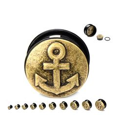 Antique Brass Colored Anchor Front Single Flared Black PVD Steel Plugs