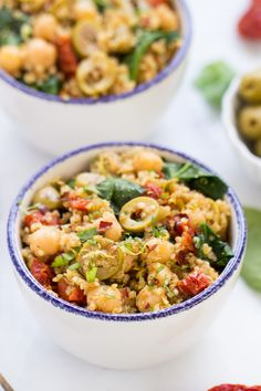 A light and flavorful Mediterranean quinoa recipe that combines olives, sun dried tomatoes, spinach and chickpeas, and requires just one pot!
