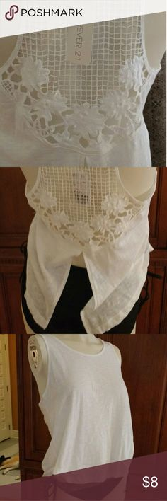 Forever 21 tank Lace back tank size medium. White new with tags. Forever 21 Tops Tank Tops