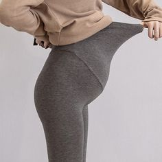 The solid color matenrity pants knitted cotton adjustable ankle-length leggings plus size clothes is so warm and loose. #maternitypants #maternitypants #maternitypantspattern #maternitypantspatternsewing #comfortablematernitypants #maternitypantsoutfit #maternitypantsoutfitcasual Yoga Pants With Pockets, Ankle Length Leggings, Soft Pants, Improve Posture, Maternity Pants, Workout Leggings, Plus Size, Warm, Cotton