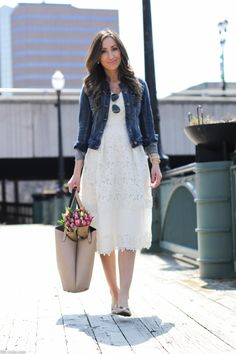 little white dress ~ Lilly Style Indian Fashion Dresses, Dress Indian Style, Modest Outfits, Trendy Outfits, Stylish Dresses, Casual Dresses, Denim Jacket With Dress, Jacket Style, Casual Frocks