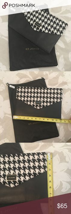 """St John Leather Clutch 12"""" x 8.5"""" St John Leather Clutch 12"""" x 8.5"""" with wool black n white houndstooth detail flap. Magnetic closure w/ dust cover. Interior satin zip pocket, five leather slot pockets for license, credit card, etc. plastic cover still over logo. St John Bags Clutches & Wristlets"""