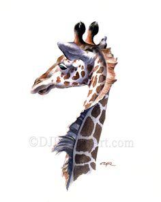 Giraffe Art Print Sepia Watercolor Wildlife 11 x 14 by Artist DJR