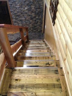 Pallet wood stair case! recycled wood! Turned out amazing!