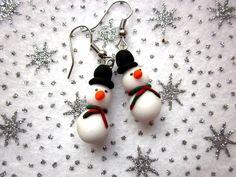Christmas Snowman Earrings, Festive Earrings, Christmas Jewellery, Polymer Clay Earrings, Xmas Jewellery, Cute Snowman Jewellery by AnneBrusatte on Etsy https://www.etsy.com/listing/209452751/christmas-snowman-earrings-festive
