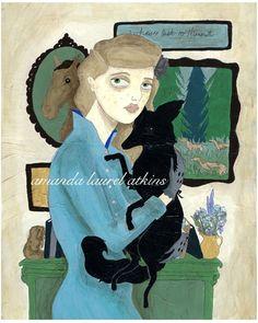 """Chelsea and the black fox""  acrylic on masonite  c Amanda Laurel Atkins 2008"