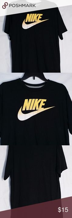 """Nike Mens Shirt L Black Thin Tee Shirt Swoosh Nike Mens Shirt Large L Black Thin Tee Shirt Cotton Blend Regular Fit Casual Gently used Black with yellow swoosh Approx chest 44"""" Lightweight thin Nike Shirts Tees - Short Sleeve"""
