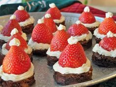 Santa hat brownies- Can't wait to make these for the holidays