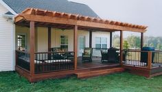 These free pergola plans will help you build that much needed structure in your backyard to give you shade, cover your hot tub, or simply define an outdoor space into something special. Building a pergola can be a simple to… Continue Reading → Backyard Patio Designs, Backyard Pergola, Pergola Designs, Deck Patio, Deck With Pergola, Backyard Porch Ideas, Gazebo Ideas, Diy Porch, Wood Patio