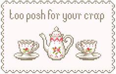 "kawaii tea pastel pixels offensive text [MANTIS] - change it to ""too posh for your shit"" Cross Stitching, Cross Stitch Embroidery, Cross Stitch Patterns, Hama Beads, Creepy, Pastel Grunge, Pastel Goth, Beading Patterns, Pixel Art"
