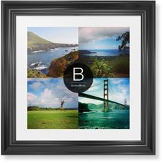 Bold Monogram Framed Print, Black, Classic, Cream, White, Single piece, 16 x 16 inches, Black