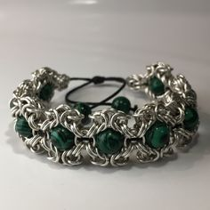 Bracelet made of silver coated wire and malachite stones