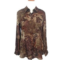 DRESSBARN Long Sleeve Button Front Top Gold, Taupe, Brown Print Career Blouse XL #Dressbarn #Blouse