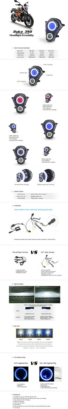 KTM Duke 390 2013-2014 Dual Angel Eye HID Projector Custom Headlight Assembly