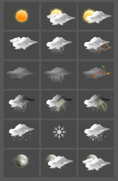 Weather icons & widget by Karine Pujol, via Behance Weather Icons, Icon Pack, Ux Design, Behance, Symbols, Graphics, Spaces, Bird, Button
