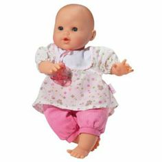 """Corolle 14"""" Bebe Tresor by Corolle. $50.69. 14"""" tall and adorable from head to toe. Uses 3 LR44 batteries (not included). Bebe Tresor can wear any outfit from the 14"""" Corolle Baby Collection. From the Manufacturer                This soft-bodied special feature doll with blue sleeping eyes will charm little ones. Bebe Tresor wears a flower print top with attached pacifier and corduroy pants. When you press in on baby's tummy, it coos, babbles and giggles. If you place baby on it..."""