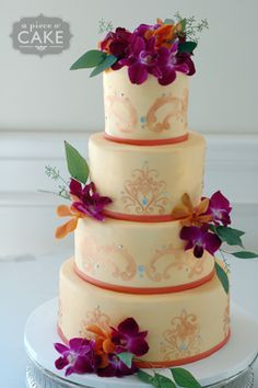 fresh orchid wedding cakes - Google Search