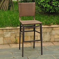 """Add a touch of contemporary style and elegance to your patio furnishings with these bar height chairs. These chairs feature a sleek """"Barcelona"""" chair design, a lightweight and sturdy aluminum build, and are available in four beautiful color options."""