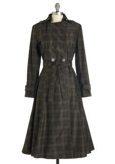 Time and Again Coat. Youve found a fashionable - and reliable - friend in this plaid trench coat! #green #modcloth
